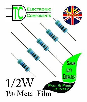 1/2W Metal Film Resistors 1% tolerance 0.1ohm - 10Mohm available (10 pack)