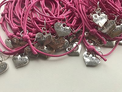 Adjustable Hen  Party And Bride To Be Friendship Cord Charm Bracelet Hen Night