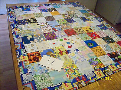 Lot U Homemade Zoo Animals Quilt Cotton 34in x 41 in
