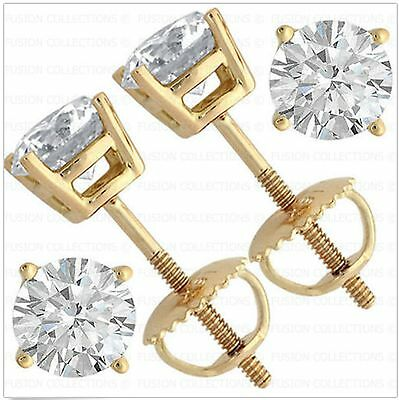 2Ct Real 14K Yellow Gold ScrewBack Round Brilliant Cut Solitaire Earrings Studs