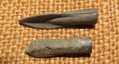 Scythian- Sarmatia Bronze 2 pcs.Old Original Ancient Barbed Arrowhea 7-4 BC #3