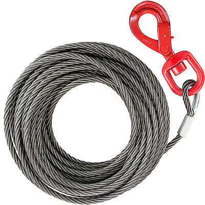 Galvanised Steel Winch Cable, Wire Rope 10mm x 23m, upto 15000lbs