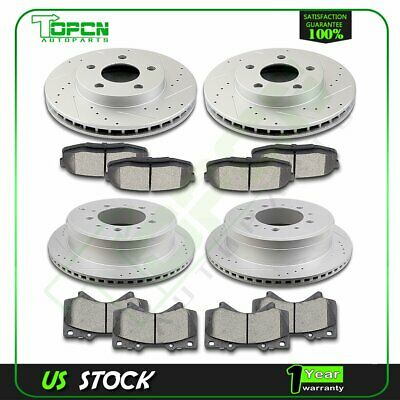 """O0750 FIT 2001 2002 Tundra Sequoia S13WE 4.7/""""PAD FRONT Brake Rotors Ceramic Pads"""