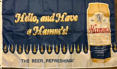 Hamm's Beer Flag 3x5 Hello Banner Theodore Hamm Brewing Company Man Cave Bar