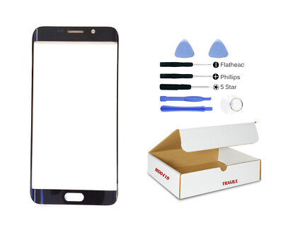 Black Sapphire Blue Front Glass Lens Replacement Compatible Galaxy S6 EDGE PLUS