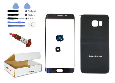 Black Sapphire Blue Front Back Glass Lens Replacement Fit Galaxy S6 EDGE PLUS