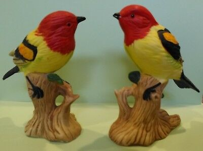 pair of Yellow Birds with Red Heads - Made in Taiwan R.O.C. Excellent Condition