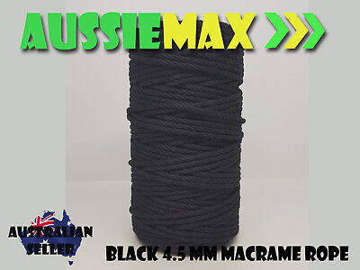 4.5mm Black Macrame Rope 100% Natural Cotton Cord 90 Meters