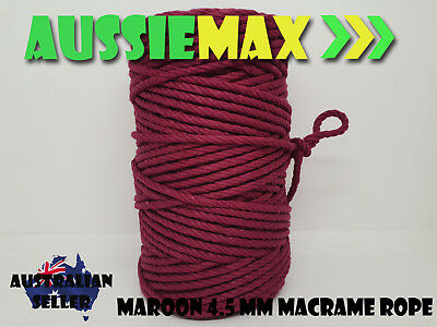 4.5mm Maroon Macrame Rope 100% Natural Cotton Cord 90 Meters