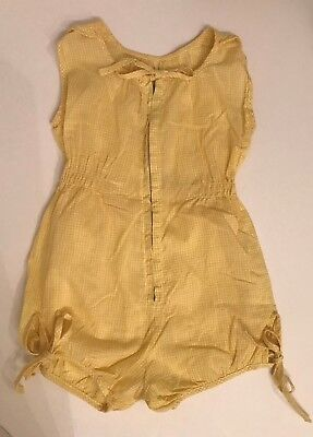 vintage 1950's baby girl toddler yellow gingham sunsuit