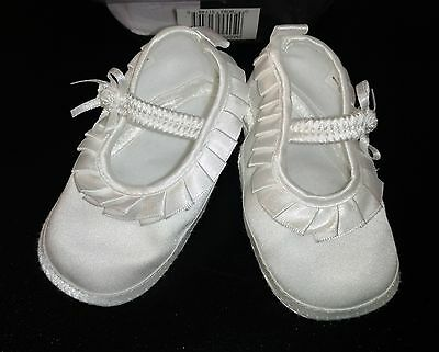 Little Things Mean Alot CHRISTENING Shoes Newborn sz 3 NEW SATIN