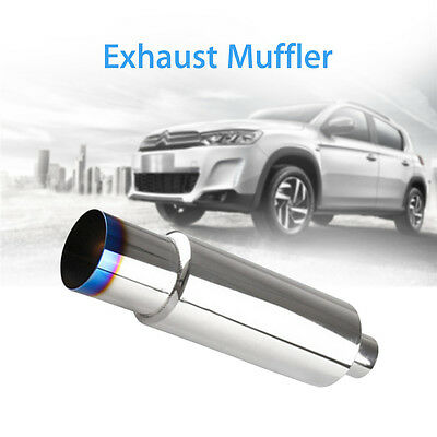 """1X Durable Exhaust Muffler Pipe 2.5""""Diameter Inlet With Silencer Air Flow Silver"""