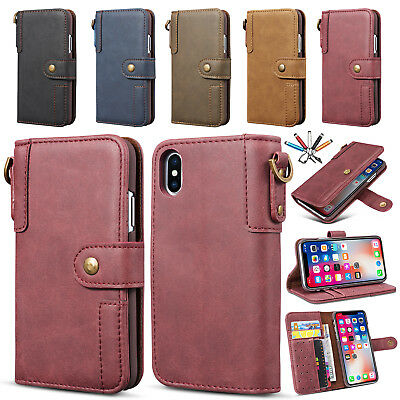 Luxury Magnet Leather Card Pocket Wallet Stand Case Cover For iPhone 7 8 Plus X