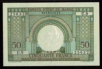 Morocco | 50 Francs | 1949 | French Colonial Note | P-44 | Unc