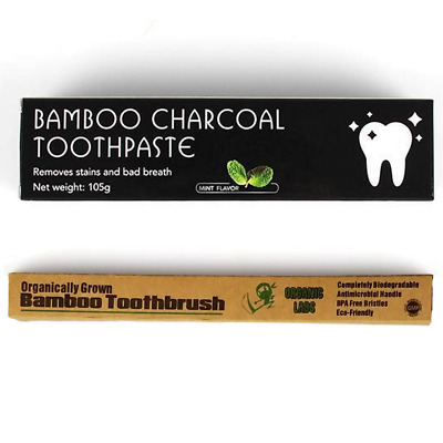 Bamboo Charcoal Toothpaste FREE Organic Bamboo Toothbrush Tooth Stain Remover