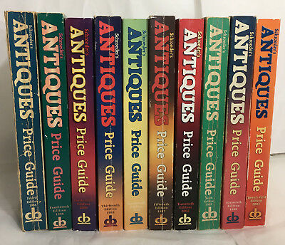 Lot of 10 Schroeder's Antique Price Guides Collector Books 1986-2006 - Free Ship