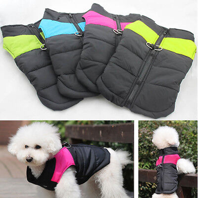 Pet Dog Winter Clothes Quilted Padded Puffer Insulated Hoodie Jacket Puppy Coat
