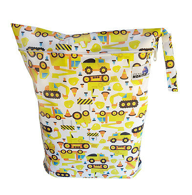 Construction & Diggers Large Zip Dry & Wet Bag - Baby Cloth Nappies, Waterproof