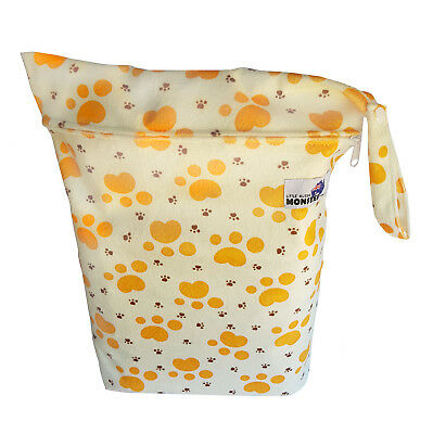 Cute Puppy Paw Prints Large Zip Dry & Wet Bag - Baby Cloth Nappies, Waterproof