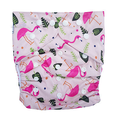 Junior XL Modern Cloth Nappy FREE Insert Baby Toddler upto 20kg - Pink Flamingos