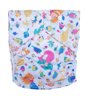 Junior XL Modern Cloth Nappy FREE Insert Baby Toddler upto 20kg - Pink Mermaids