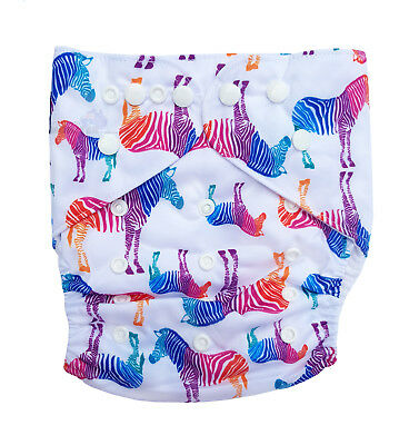 Junior XL Modern Cloth Nappy FREE Insert Baby Toddler up to 20kg - Awesome Zebra