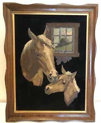 Vintage Paint By Number On Velvet Horse & Foal Nice!