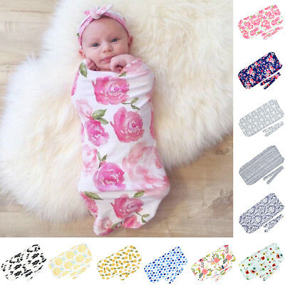 Fashion Printed Newborn Baby Wrap Blanket Swaddle Sleeping Bag+ Headband Reliabl