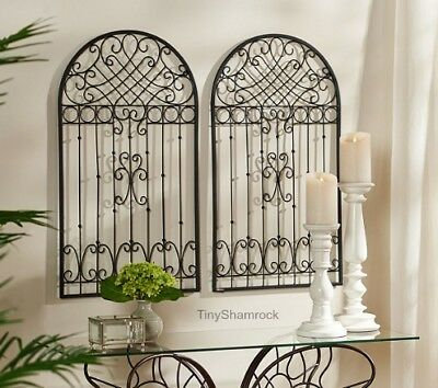 French Country Vintage Style Metal Garden Gate Wall Decor Indoor Outdoor 2 PC