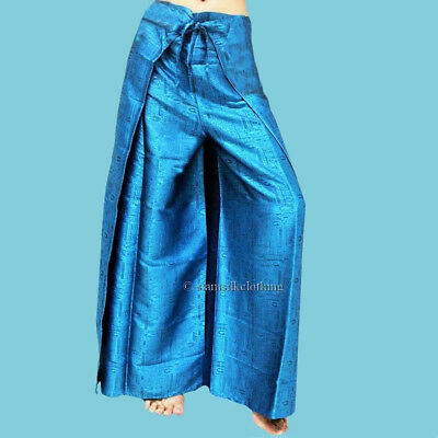 32baa87620a Women s Harem Pants Thai Silk Wrap Plus Size Hippie Turquoise Fisherman  Trousers