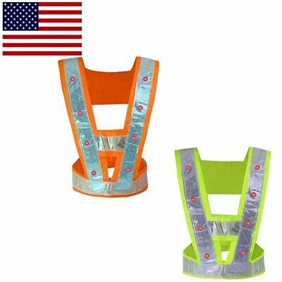 LED Light Safety Reflective Vest Traffic Warning Vests Running Cycling Unisex