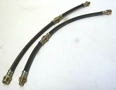 Mazda Rx3 Rx-3 323 Front Brake Flexi Lines Hoses With Mounting Clips Pair 2Pcs