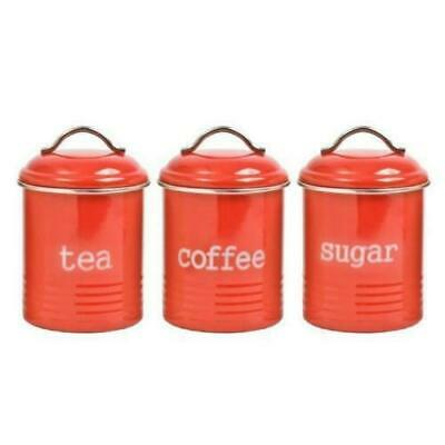 Set Of 3 Retro White Canister Set Tea Coffee and Sugar Canisters Airtight Sealed