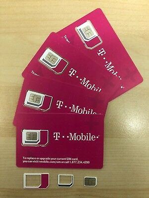 Brand New T-Mobile 4G LTE Triple Cut Sim Card Unactivated Replacement Prepaid
