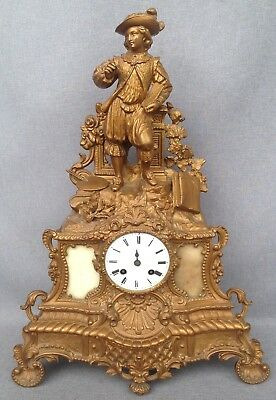 Antique Art-Nouveau french clock made of regule gold tone 19th century barbot