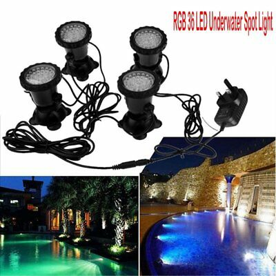 4pc 36 LED RGB Submersible Aquarium Underwater Light Garden Pond Tank Waterproof