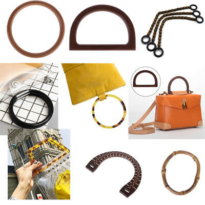 Women Round Shaped Resin/Wooden Handle Replacement For Purse Beach Handbag Bag