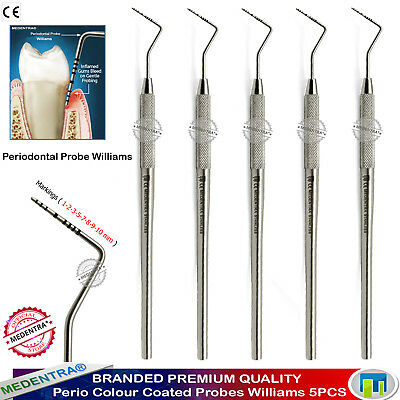 Williams Periodontal Lab Pocket Depth Marking Color Coted Probes Dental Tool X5