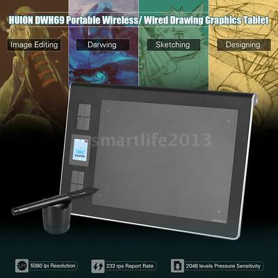 """HUION DWH69 Portable Wireless/ Wired Drawing Graphics Tablet Pad 9"""" * 6"""" I8R8"""