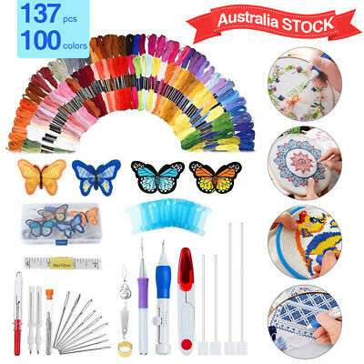 137 in 1 DIY Magic Embroidery Pen Punch Needle Kit Sewing Knitting Threads Tool