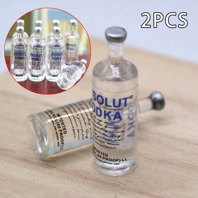 2Pcs Miniature Wine Vodka Bottles Decoration For 1:6 1:12 Doll House Drink Accs