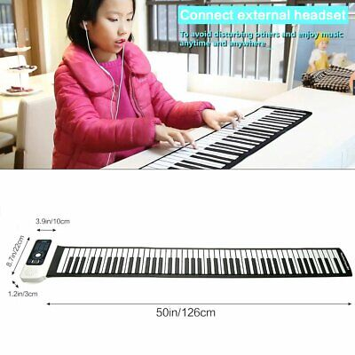 Electric Digital 88 Keys Piano Flexible Soft Roll Up Foldable Keyboard Pianos
