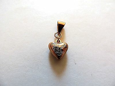 """Modern Classic .925 Sterling Silver & Gold Plated """"Love & Rose"""" Heart Pendant"""