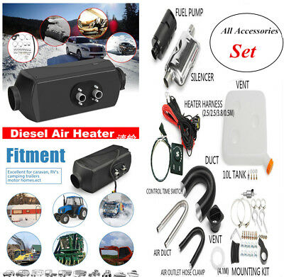 Universal 12V 5KW Car Air Diesel Heater Engine Preheater w/Silencer 10L Tank