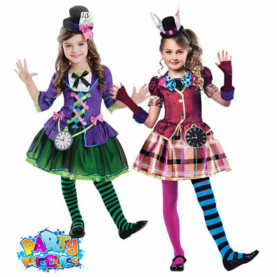 Girls Mad Hatter Costume Kids Book Day Child Fairytale Alice Fancy Dress Outfit