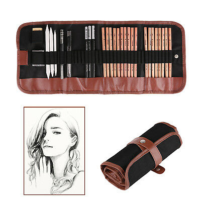 29pcs Drawing Sketch Set Charcoal Pencil Eraser Art Craft Painting Sketching Kit