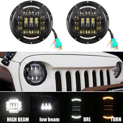 Pair 7inch 90W LED Headlight H4 H13 DRL HIGH LOW BEAM For JEEP JK Wrangler