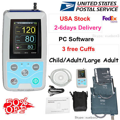 NIBP Monitor Ambulatory Blood Pressure Monitor Holter ABPM50 usb SOFTWARE 24HOUR