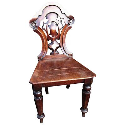 Antique chair, Beautiful carved mahogany Victorian hall chair