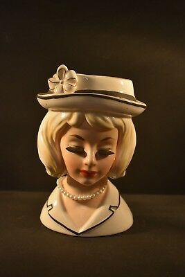 Original Vintage Collectable Lady Head Vase Cream Dress Bowler Hat Pearl Necklac